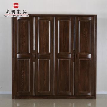 阁全实木卧室四门整体衣柜现代中式榆木衣橱衣柜组合