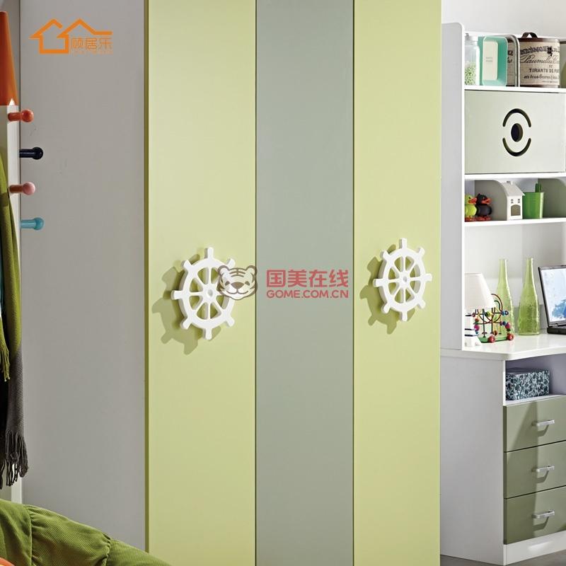 简约现代儿童衣柜3门衣柜推拉门衣柜2门衣柜绿色男孩