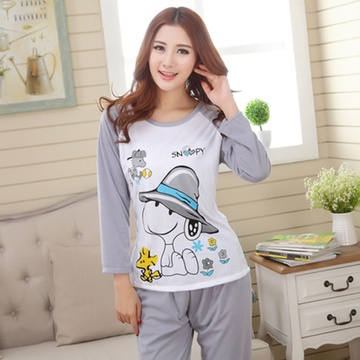 茵珠丽yinzhuli2015春季新款韩版优质棉长袖女士睡衣套装时尚可爱卡通