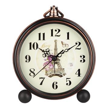 汉时(hense) 闹钟 欧式复古闹钟怀旧静音座钟古典田园图片