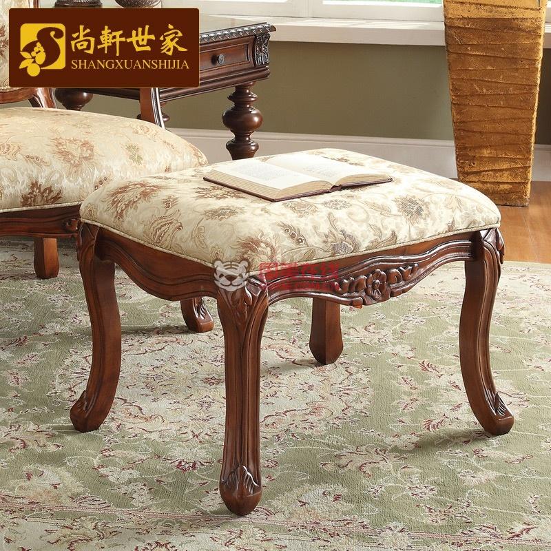 尚轩世家 家具凳子 实木换鞋凳 美式脚凳 欧式休闲凳