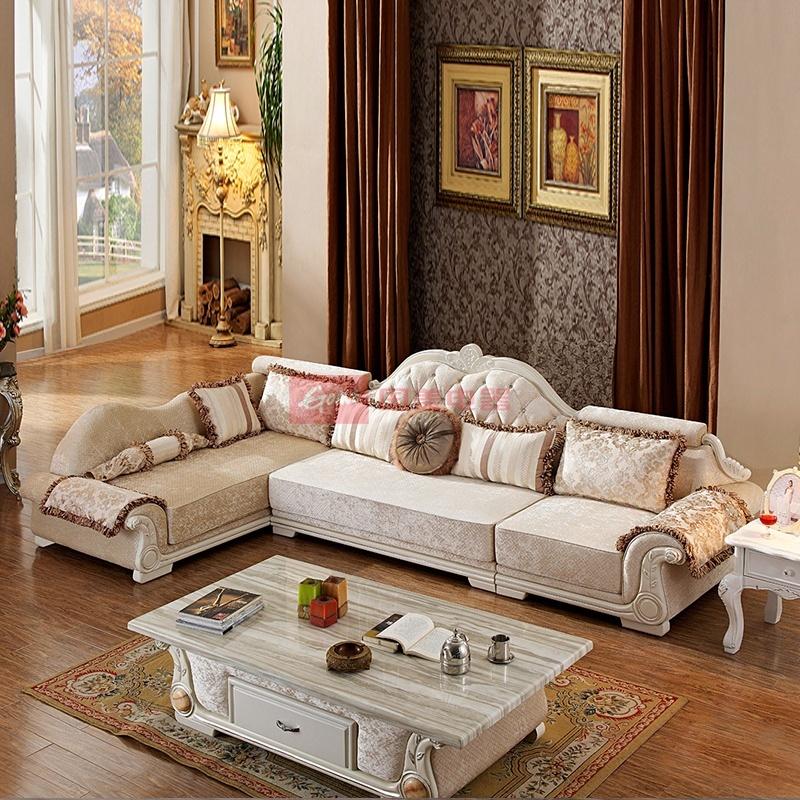 欧式沙发 皮布沙发 布艺沙发 小户型转角组合新古典简欧实木沙发(8990
