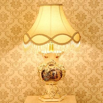 梵莎奇欧式台灯 奢华陶瓷人物图卧室床头灯客厅灯