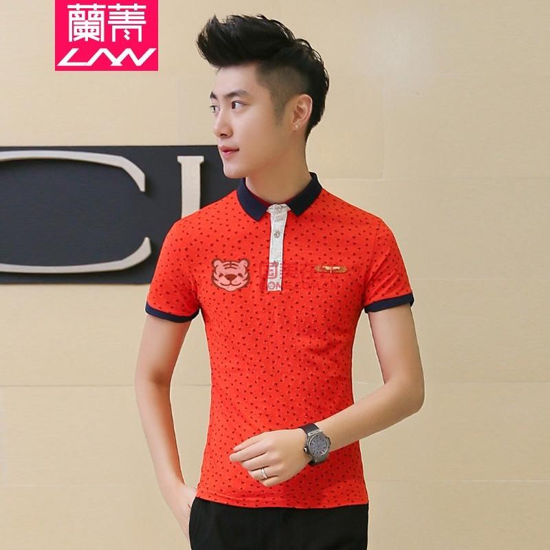 体恤衫韩版修身半截袖jd-c416-5001(红色