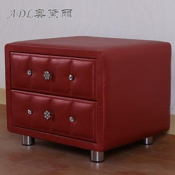 后现代欧式水晶扣皮质床头柜 简约时尚床头柜 双抽屉(酒红色 其他)