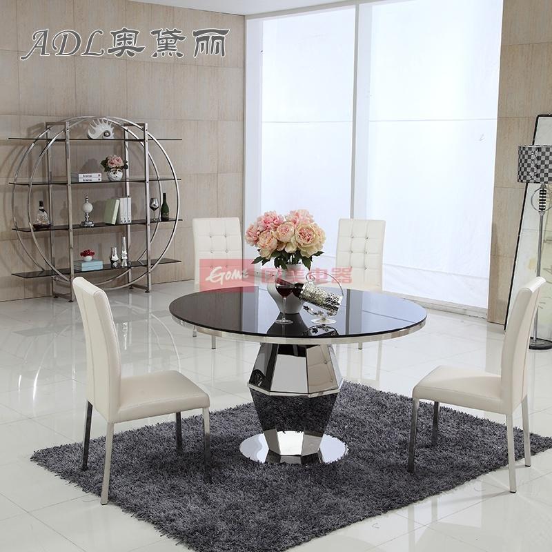 新款欧式现代简约创意圆桌钢化玻璃餐台不锈钢餐桌