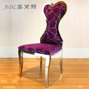 欧式餐椅 布艺花纹餐桌凳高档不锈钢餐厅椅子 时尚软包靠背座椅-售楼图片