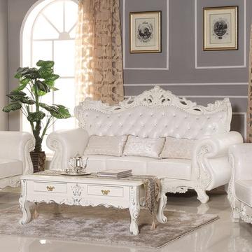 千巢家居 欧式沙发 真皮沙发 客厅组合沙发 法式牛皮沙发 实木雕花