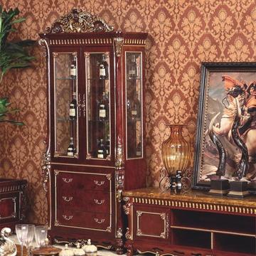 美式实木客厅家具路易世家实木质欧式单门
