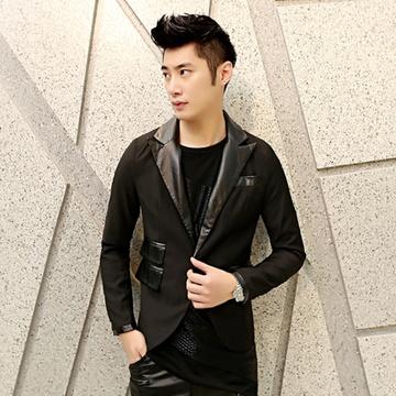 古莱登 韩版修身西服外套男士发型师拼皮个性小西装男