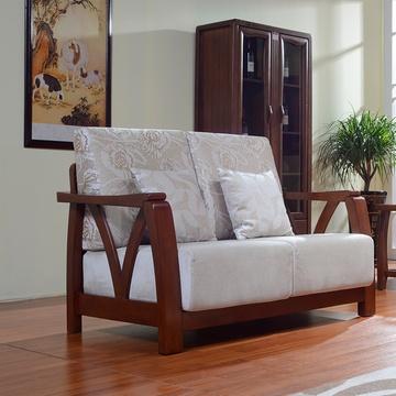 布艺沙发组合 新中式现代简约客厅木架成套家具布艺胡桃木沙发 s221
