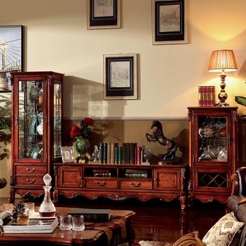 实木欧式古典玻璃门美式酒柜高柜矮柜电视柜j