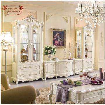 法唯莎欧式酒柜电视柜组合实木 法式单双门玻璃柜田园