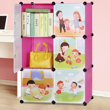 索尔诺卡通书柜儿童书架自由组合收纳柜简易储物柜子