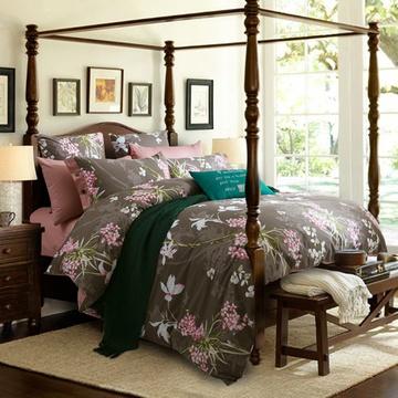 晶丽莱美式纯棉四件套欧美风床上用品4件套学生单双人