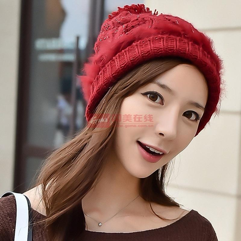 【帽子酒红色图片】韩版毛线帽子女时尚杂色 加绒加厚
