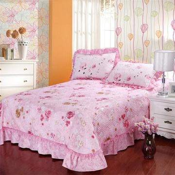 囍人坊 欧式床单床套纯棉绗缝夹棉床盖单件全棉加厚床罩双人床床盖三