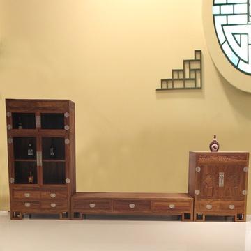 集一美红木家具红木电视柜实木简约现代组合影视柜带