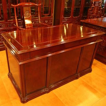 4米红木书桌实木办公桌小班台书柜组合红檀