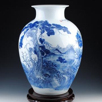景德镇陶瓷器 大师手绘青花山水大花瓶 名家方春晖作品 证书收藏