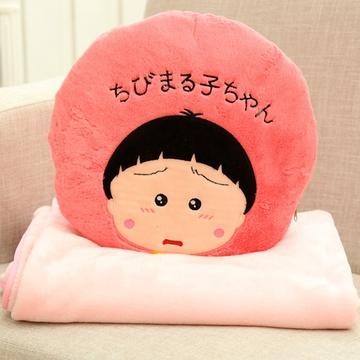 可爱呆萌动漫樱桃小丸子空调毯两用空调被娃娃毛绒毯