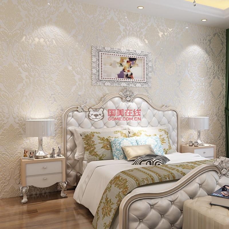 欧式3d厚实大马士革卧室客厅背景墙壁纸