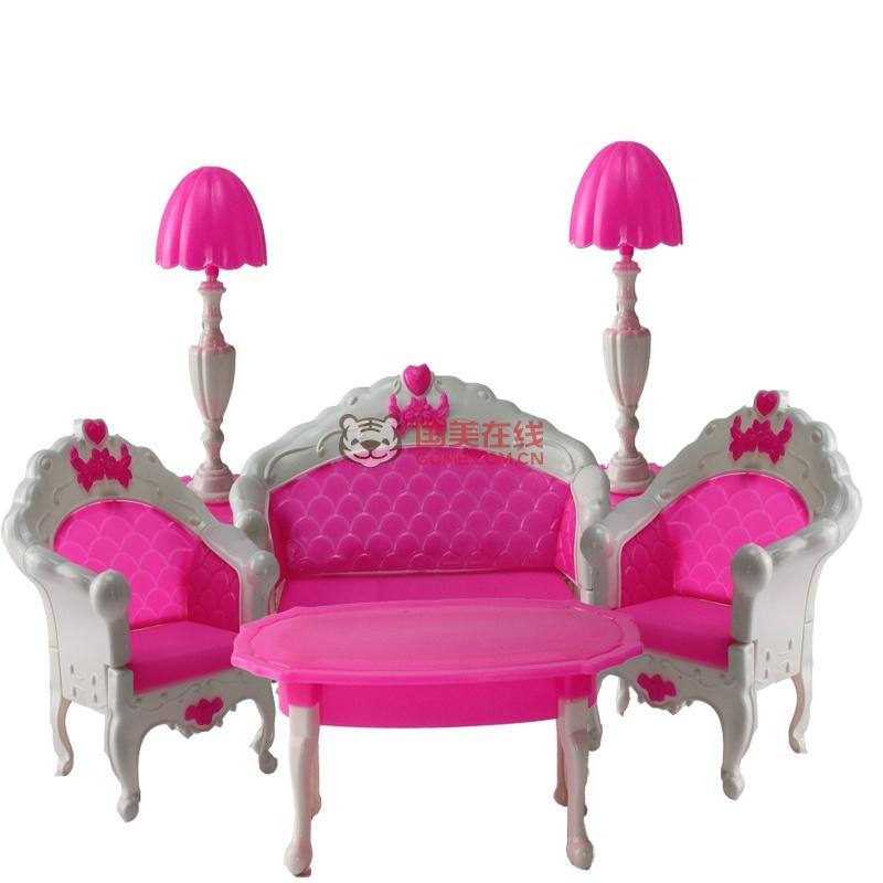 芭比娃娃配件散装洋娃娃公主barbie玩具羽毛拍吹筒梳妆台支架人字拖鞋