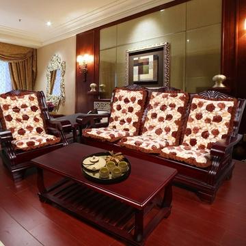立体毛绒法莱绒实木沙发坐垫带靠背加厚红木