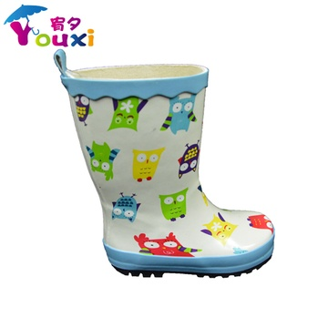 儿童雨鞋雨靴猫头鹰水鞋天然橡胶幼儿园宝宝上学校男童女童卡通胶鞋
