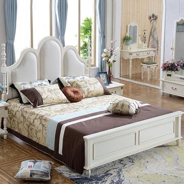 美式实木床皮床