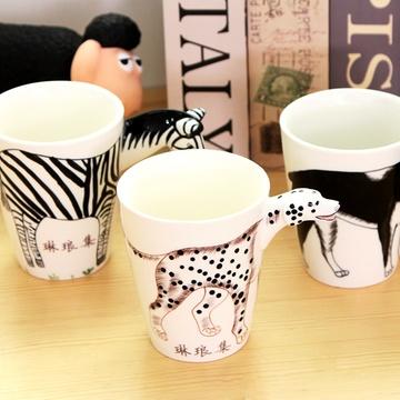 琳琅集 创意手绘3d动物陶瓷杯子个性卡通水杯大容量马克杯(梅花鹿 400