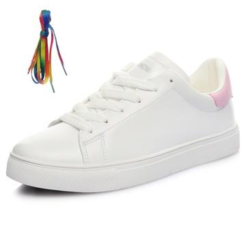 木易王子透气小黄人小白鞋韩版运动两幅鞋带板鞋简约休闲鞋606-1(粉红图片