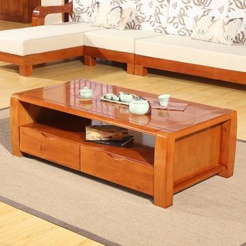 初林 实木茶几 中式客厅实木茶几桌s160(原木色 1.38m