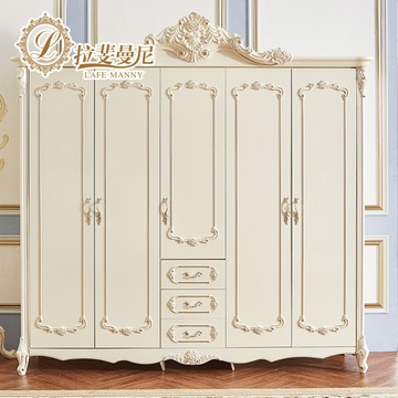 拉斐曼尼 欧式衣柜法式卧室实木四五六门大衣橱美式现代简约地中海