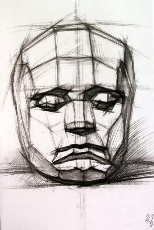 脸部石膏结构素描展示