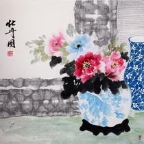 赵爱英 牡丹图4> 国画 花鸟画 水墨写意 牡丹 花瓶 斗方图片